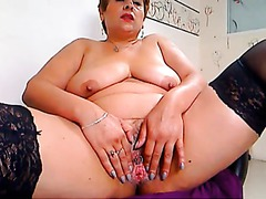 Chubby Mature Shows Her Pink Pussy