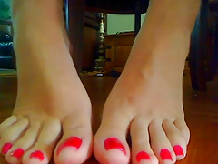 Red Nail Polish Foot