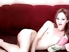 Haileen Naked Lying On A Red Couch