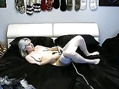 Sexy Girl In Husky Costume And Seamless White Pantyhose