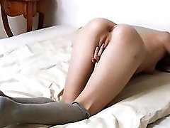 Petite Virgin In Stockings Rubs Shaved Pussy