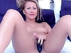 Blonde Cam-girl In Her Pantyhose With Vibe -ti
