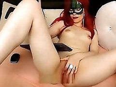 Red-haired Girl In A Mask Naked